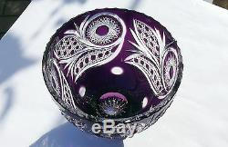 Large CRYSTAL BOWL /FRUIT VASE 21x24 cm PURPLE Cut to clear overlay, RUSSIA, New