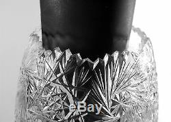 Large Cut Crystal Vase Turkish Glass Vintage Vase