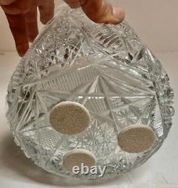 Large MINT Antique Brilliant Cut Glass Umbrella Stand Jar Vase Cane Holder 17