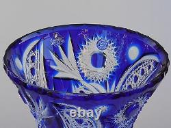 Large VASE TULIP 36 cm tall, BLUE Cut to clear Overlay Cased Crystal RUSSIA