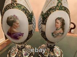 Large pair Of Bohemian Moser Cut Glass Portrait Vases, 19 C. 18 Inch Tall