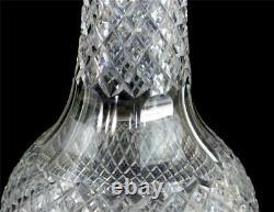 M032 PAIR TALL ANTIQUE CUT GLASS VASES PROBABLY THOMAS WEBB 40cm 15 5/8 tall