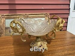 MAGNIFICENT ANTIQUE FRENCH GILT DORE BRONZE And Cut Glass CENTER PIECE Vase