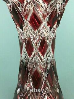 MCM Caesar Crystal Bohemian Cut To Clear Red Crystal Harlequin Flower Vase 10.5