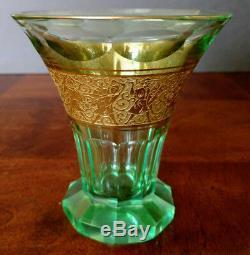 MOSER Fine 1900's Green Cut Glass Beaker-Vase w-Gold Warrior Frieze Rare, Nice