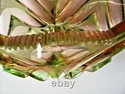 MOSER Vintage Bohemian URANIUM Cut Glass VASE Bowl Sommerso Glass 8.9 long
