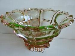 MOSER Vintage Czech/ Bohemian URANIUM Cut Glass VASE Bowl Sommerso Glass 1930s