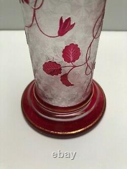 Magnificent Baccarat Acid Carved Red Cut To Clear Solifore