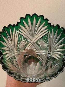 Magnificent Dorflinger American Brilliant Bi-color Cut Glass Trumpet Vase 14