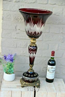 Majestical Czech Bohemian ruby red glass cut Centerpiece Vase