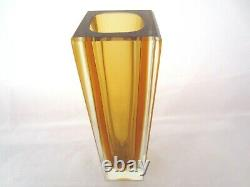 Mandruzzato golden amber square sommerso block cut art glass vase vintage Murano
