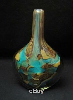Michael Harris Mdina Malta Art Glass Cut Ice Fish Lollipop Vase Signed