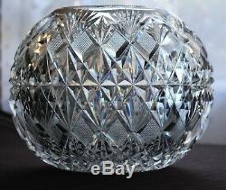 Monumental Antique ABP American Brilliant Period Cut Glass Rose Bowl Globe Vase