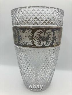 Moser Antique Bohemian Heavy Diamond Cut Crystal Vase Floral Gold Frieze Band