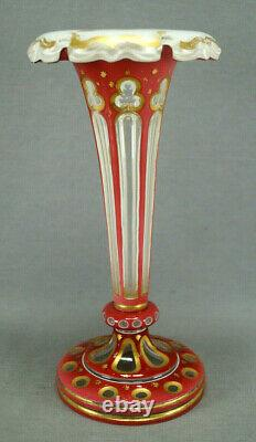 Moser Bohemian Cased Cranberry White Cut to Clear & Gold Gilt Stars Trumpet Vase