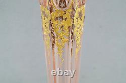Moser Cut Crystal Pink Art Nouveau Gold Scrolls 16 Inch Tall Vase Circa 1900