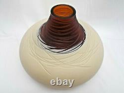 Murano Large Salviati Deep Cut Caramello Glass Vase Luca Nichetto 2008 Labelled