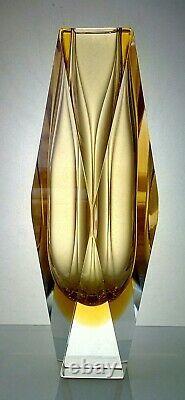 Murano Mandruzzato Sommerso, Vintage Italian Facet-cut Block Vase 26cm