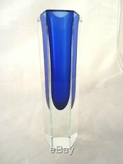 Murano mandruzzato blue hexagon sommerso block vase XL 20cm