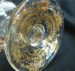 N511 Pair Lidded Cut Glass Gilt Urns Vases Pokels Vases Portugese Marinha Grande