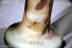 NICE & EARLY GALLE ACID CUT BACK CAMEO GLASS VASE 13 h #5611