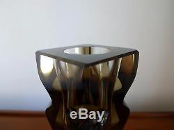 OLDRICH LIPSKY EXBOR SIGNED 1960'S FACETTED CUT GLASS VASE Czech, Hlava Era
