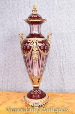 Pair French Empire Cut Glass Amphora Urns Lidded Vases