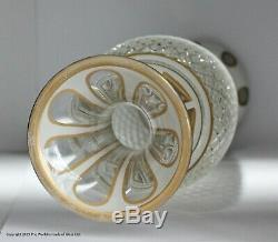 Pair of Bohemian large white cut to clear glass vases