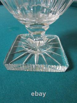 Pedestal Crystal Cut Vase Diamond Cut Ribbed 9 1/2