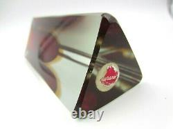 Poli Seguso Murano block cut sommerso faceted red & amber art glass vase +Label