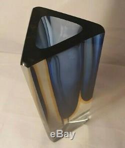 Poli Seguso era Murano block cut sommerso blue & amber glass vase RARE SHAPE
