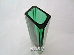 Poli Seguso era Murano block cut sommerso green amber blu4 glass vase RARE SHAPE