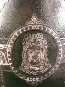 RARE 1900 Thomas Webb Cameo Acid Cut Back Art Glass Silver Overlay Portrait Vase