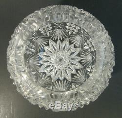 RARE Antique PHOENIX American Brilliant ABP Cut Glass JEWEL Rose Bowl Vase 7