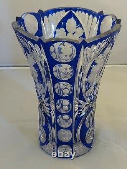 RARE Elegant Crystal Cobalt Hand Cut Glass Vase