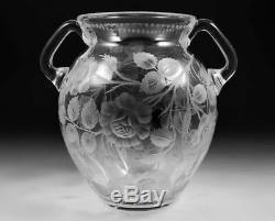 RARE Sinclaire Rose Cut Glass Large Handled Vase American Brilliant Period ABP