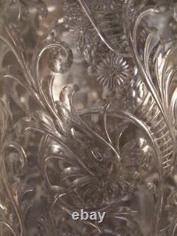 RARE Webb Floral Brilliant Rock Crystal Intaglio Gravic Etch Cut Glass ABP Vase