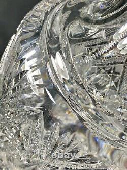 Rare 14.5 Antique Abp J. Hoare Heavy Deeply Cut Cut Glass Pitcher Ewer Vase