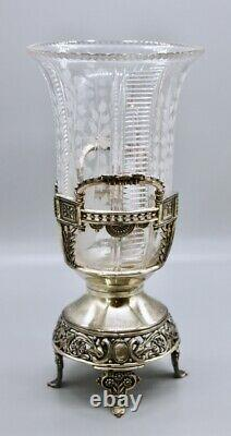 Rare Antique Meriden B Company Silverplate Epergne Cut Intaglio Glass Vase C1886