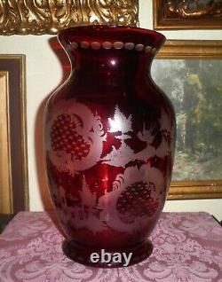 Rare Enormous ANTIQUE EGERMANN crystal STAG DEER ELK ruby red cut to clear Vase