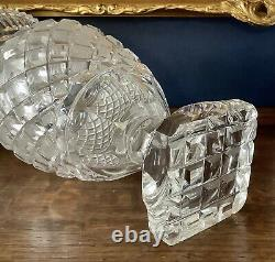 Rare Late 18th C. Georgian Anglo-Irish Strawberry Diamond Cut Glass Vase C1780