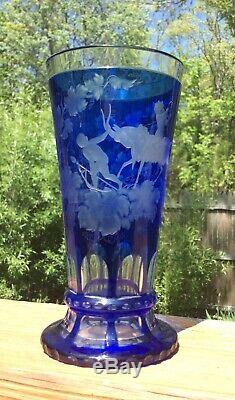 Scarce Intaglio Cut Glass Vase Mythological Pan Figure Moser Bohemian