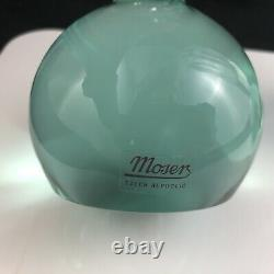 Set of 2 Moser Art Glass Jan Mares Cut Beryl Green Base 11 1/2 Vases -Signed