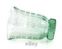 Signed Deco acid-cut Daum substantial green vase, ca 1930 11872