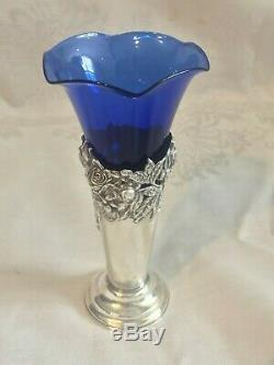 Sterling Silver Cut Work Repousse Trumpet Vase Blue Cobalt Glass Insert Watrous