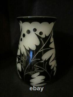 Steuben Acid Cut Black/Alabaster Glass Vase Art Deco Sea Holly 1928 10H