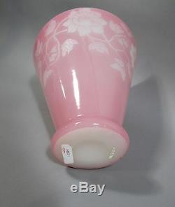 Steuben Rosaline Acid Cut Back Art Glass Vase