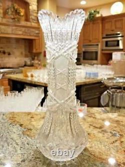 Stunning Large ABP Cut Glass American Brilliant Period 14.25 Antique Vase