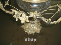 Stunning Rare Antique 18c Gilt Dore Bronze & Cut Glass Centerpiece, Vase, Bowl