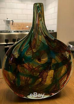 Stunning Rare XL MDINA Cut Ice Maltese Michael Harris Lollipop Fish Vase c. 1978